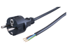Connecting cable, Europe, Plug Type E + F on open end, H05VV-F 3G0.75 mm², black, 2 m