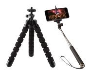 Selfie sticks and mobile phone stands